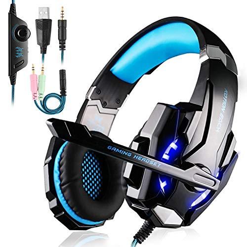 Tsing Auriculares Cascos Gaming de Diadema Abiertos con Micrófono para Portátiles PS4 Móviles Tablet (Negro+Azul)