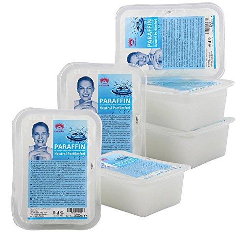 Kosmetex Paraffinwachs Neutral Parfümfrei Paraffin, Natural Paraffinbad mit niedrigeren Schmelzpunkt, 6x 500ml Neutral -