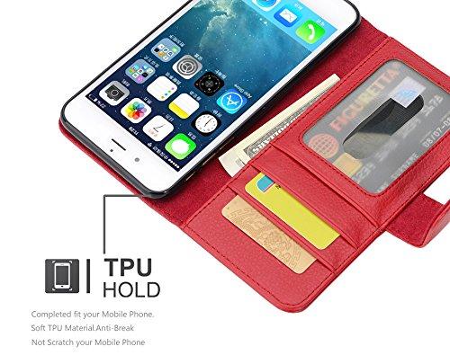 Apple iPhone 8 PLUS / 7 PLUS / 7S PLUS Hülle in BLAU von Cadorabo - Handy-Hülle mit 3 Kartenfächer und Standfunktion Case Cover Schutz-hülle Etui Tasche Book Klapp Style in NEPTUN-BLAU INFERNO-ROT