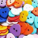 Hosaire 100x Knöpfe Kreative Kunststoff Herz Zweiloch Farbig Knopf Knöpfe Näharbeit