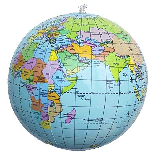 nanshoudeyi 40,6 cm aufblasbarer PVC-Weltkugel Erde Strand Ball für Jungen & Mädchen Partytüten, Strand Spielen oder Lernen Lernen, pädagogisch, Augmented Reality Based Globe, 2 Stück