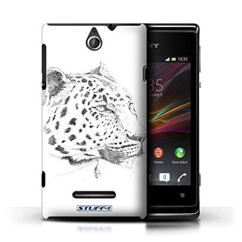 Kobalt® Imprimé Etui / Coque pour Sony Xperia E / Lion conception / Série Dessin Croquis Léopard