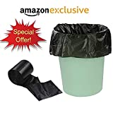 #8: Amazon Brand - Garbage Bags | Dustbin Bag ( Medium Size 19 × 21 inches, 90 Pieces ) Thrash Bags | Waste Bags | Storage Rolls | Dustbin Cover ( Thick, Black Colored ) for Home Kitchen Dustbin with String | Thread by Priish