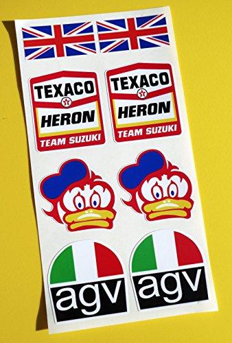 BARRY SHEENE TEXACO REIHER TEAM SUZUKI optik Motorrad Helm Aufkleber Sticker