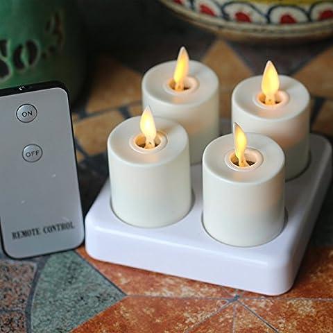 Télécommande Super Lumineux LED rechargeable Bougie chauffe-plat avec base de chargement, Lot de 4