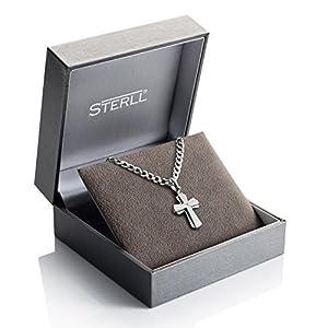 STERLL Herren Silber-Hals-Kette aus massivem 925 Sterling-Silber mit einem silbernen Kreuz-Anhänger, mit Schmuck-Box, Geschenk-Idee für Mann oder Freund