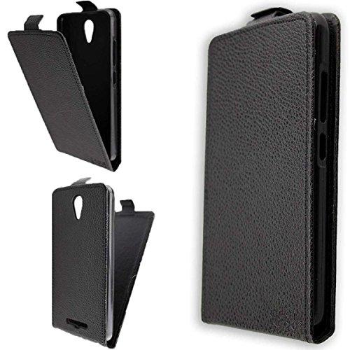 caseroxx Hülle/Tasche Flip Cover passend für Archos 50F Neon, Schutzhülle (Handytasche klappbar in schwarz)