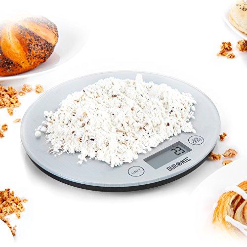 Duronic KS1055 ultradünne Digitale Küchenwaage/Digitalwaage/Elektronische Waage, Glasoberfläche, LCD Display, 5 kg, Tara-Funktion