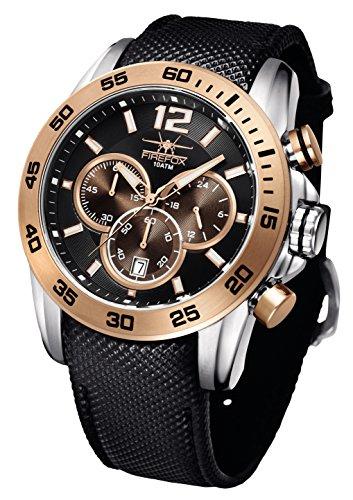 FIREFOX Falcon FFS185-102 Edelstahl schwarz/Rosegold Herrenuhr Armbanduhr Chronograph vergoldet Spezial Lederarmband Sicherheitsdornschließe 10 ATM wasserdicht