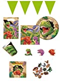 100-tlg. Partyset Mottoparty Dinosaurier für 8 Kinder - Partygeschirr und Zubehör