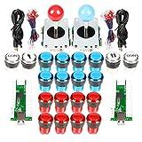 EG STARTS Arcade Kit Parte 2X 8 Vie Joystick + 16x LED Pulsante Illuminato + 2 Giocatori + Pulsanti Moneta per Raspberry Pi 3B Progetto Modello Fai da Te Rosso e Blu