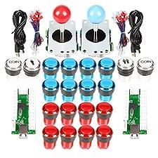 EG STARTS Arcade DIY Kit Partie 2x 8 Way Joystick + 16x LED Bouton-poussoir lumineux + 2 joueurs + boutons de pièce pour Raspberry Pi 3B Modèle Projet DIY Rouge & Bleu