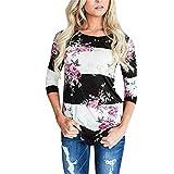 Ventas de Camisetas de Verano Yvelands Mujeres Casual Flor Impresión Cuello Redondo Manga Tres Cuartos Tops Blusa(Blanco,L)
