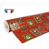 Clairefontaine 211302C Rouleau papier cadeau Alliance 60g 50x0,70m Motif Père Noël mosaïque sur fond rouge...