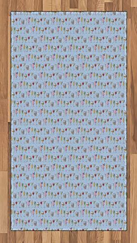ABAKUHAUS Cocktail Teppich, Vivid Alkoholische Getränke, Deko-Teppich Digitaldruck, Färben mit langfristigen Halt, 80 x 150 cm, Pale Azure Blau und Multicolor -