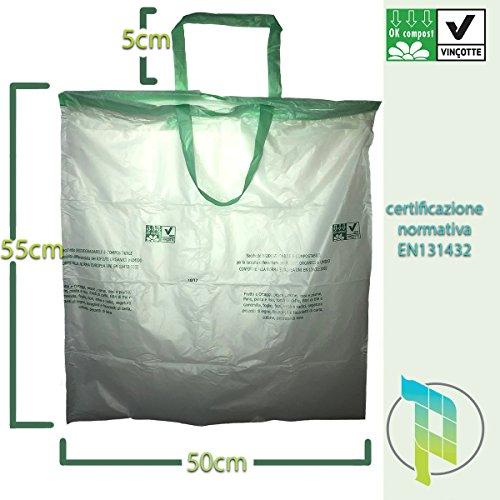 Palucart® 10 Rotoli da 10 Sacchetti per Raccolta Umido con Manico prendifacile 100 Sacchi Organico 30 Litri compostabili e biodegradabili f.to 50x60 Manico compreso