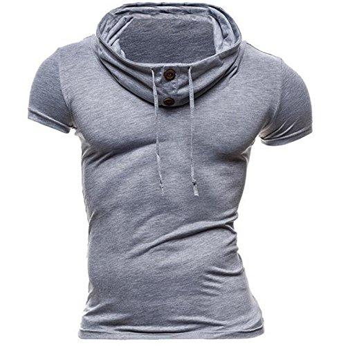 WHLTX T-Shirts Kurzarm Polo Shirt 2018 Sommer Farbe Kurzärmelige Gestapelt Kragen Erektion Jersey Shirt Polo Kurzarm Hellgrau 2XL -