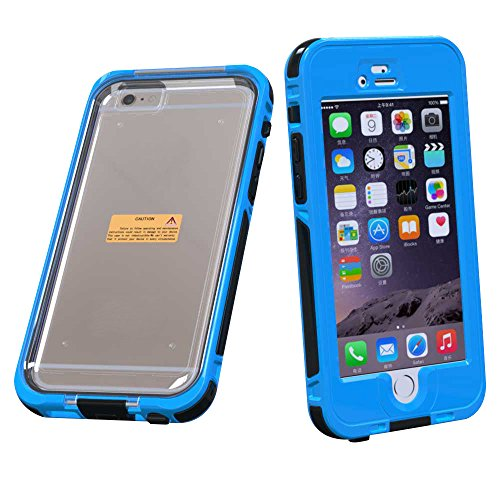 "Coque pour Apple iPhone 6 / 6S 4.7"" - Yihya Slim Fit étanche/Imperméable Antipoussière Antichoc étui Waterproof Shockproof Full Protection Transparent Clair Housse Case Cover--Jaune Bleu clair"