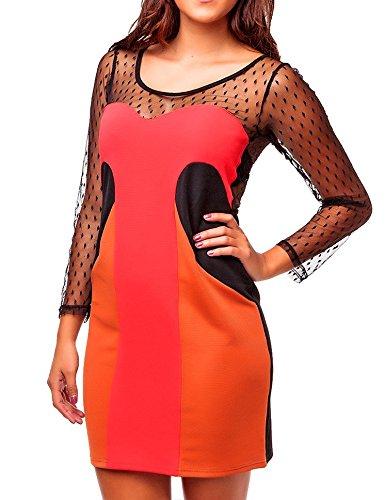 24brands - Robe soir manches - Femmes Rot/Orange