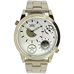 Silver Colour Softech Men's Metal Strap Analog Wrist Watch Fashion Quartz With One Extra Battery