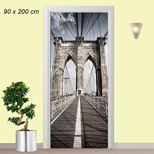 Türtapete selbstklebend Motiv Brooklyn Bridge in der Größe 90 x 200 cm