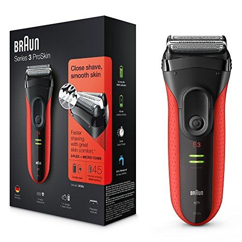 Braun Series 3 ProSkin 3030s wiederaufladbarer Herren Elektrorasierer, mit Präzisionstrimmer, rot
