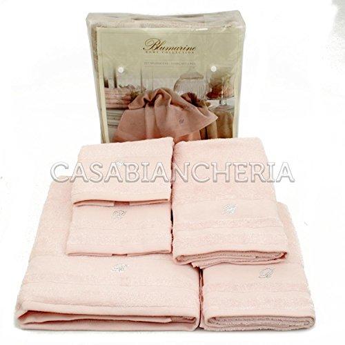 Set asciugamani bagno blumarine lory 5 pezzi-rosa