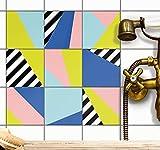 creatisto Fliesenfolie Klebefolie Fliesen Fliesensticker | Klebe-Fliesen Aufkleber Folie Sticker Küche u. Bad Fliesen überkleben Küchendekoration | 20x20 cm - Motiv 80er Jahre - 36 Stück