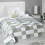 PROHEIM Wende-Tagesdecke Patchwork 220 x 240 cm als Bettüberwurf oder Sofaüberwurf Decke in verschiedenen Designs Schlafdecke Plaid mit Thermopolyester