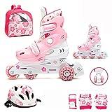 Kinder Inliner Inline Skates für Anfänger verstellbar Set Triskates mit Schutzset Helm Rucksack Rollschuhe Mädchen Jungen ABEC-3 (M (34-37), rosa)