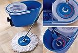 Serpillère Spin Mop Platinum balai serpillère à 360° avec seau et manche aufnehmer bleu