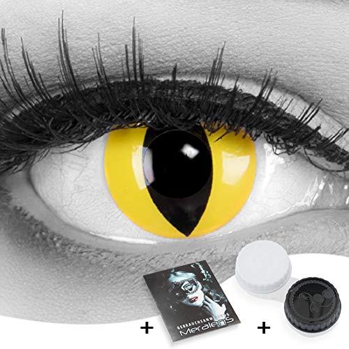 Funnylens 1 Paar farbige gelbe Crazy Fun cat eye Kontaktlinsen. Topqualität zu Fasching, Karneval, Halloween mit gratis Kontaktlinsenbehälter ohne Stärke!