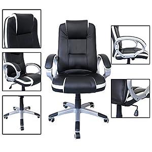 51i%2BLlafz9L. SS300  - HG-silla-giratoria-de-oficina-silla-de-juego-confort-superior-reposabrazos-tapizados-silla-de-carrera-capacidad-de-carga-200-kg-altura-ajustable-negro-blanco