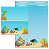 Unterwasserwelt 40-teilig 20 Blatt Briefpapier + 20 Stück Briefumschläge DIN lang ohne Fenster 51111+61111