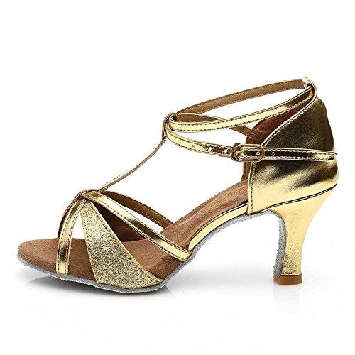HROYL pour l'femme Chaussons de danse/Chaussons de danse latine en satin F7-255 7CM or
