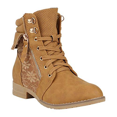 Damen Schuhe Schnürstiefeletten Spitze Stiefeletten Zipper Worker Boot 152366 Hellbraun Spitze 38 Flandell (Boot Ankle Spitze)