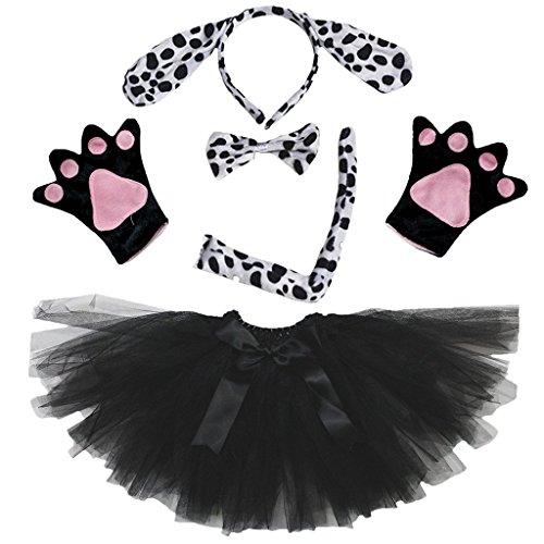 Petitebelle Stirnband Bowtie Schwanz Handschuhe Tutu 5pc Mädchen-Kostüm Einheitsgröße Schwarz Dalmatiner-Hund