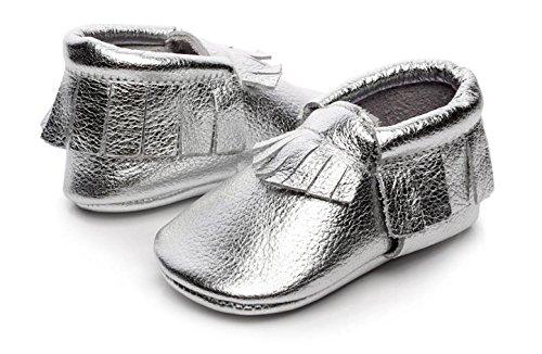 Backbuy Bébé Garçons Filles Chaussures en Cuir Souple Chaussures premiers pas Chaussons A Franges 0-24 Mois Argent