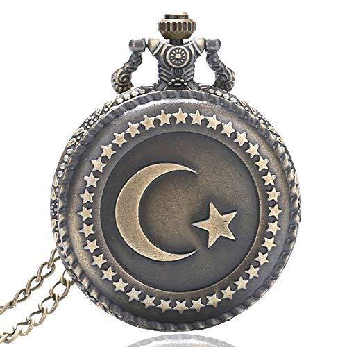 Vintage Taschenuhr Bronze Türkei Flagge Mond Stern Kreis Taschenuhr für Herren Quarz Steampunk Taschenuhr Geschenk (Türkei Outfits Die)