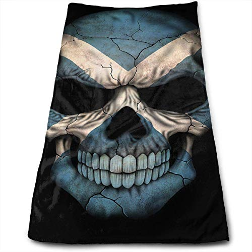 Osmykqe Anti-Fading Polyester Hand Towel Dark Scottish Flag Skull Art Durable Antibacterial and Highly Absorbent Reusable Polyester Towel