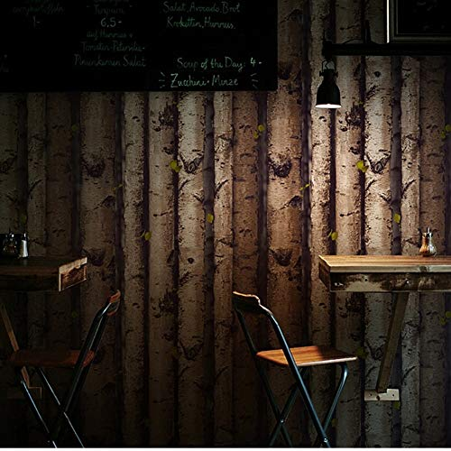 Jiangwei Tapete 3d Bäume Stapel Vintage natürliche rustikale gekörnten Effekt Holz Tree Panel Plank Vinyl -300cmx210cm -