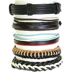 Conjunto de 5 cordones y pulseras de cuero estilo surfista - 265
