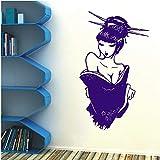 Wandaufkleber Schönheitssalon Vinyl Aufkleber Poster Japanischen Manga Japanischen Orientalischen Geisha Mädchen Schlafzimmer Wohnkultur Kunst Design DIY Lila 42X72 cm