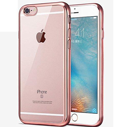 Coque iPhone 7 Plus,Étui iPhone 7 Plus,Coque Étui Case pour iPhone 7 Plus,ikasus® Coque iPhone 7 Plus Silicone Étui Housse Téléphone Couverture TPU Clair éclat crystal TPU silicone transparent chromé  Or rose
