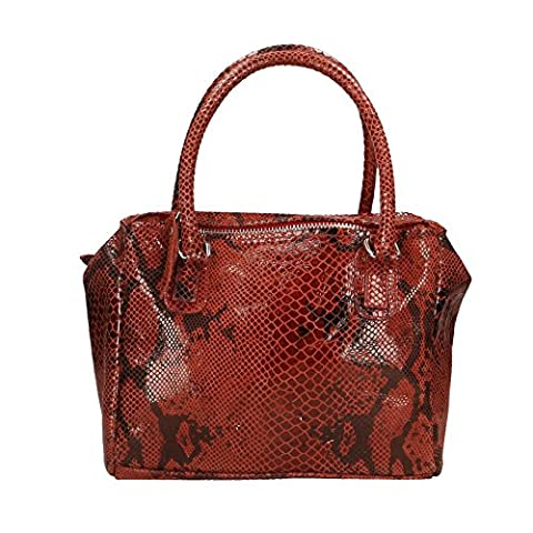 Chicca Borse Woman Handbag Python Pattern with Shoulder Strap in Genuine Leather Made in Italy 28x22x12