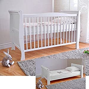 Free UK Delivery ? White Solid Wood Baby Cot Bed & Deluxe Foam Mattress Converts into a Junior Bed ? 3 Position ? Water Repellent Mattress Liner