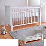 FREE UK Delivery ✔ White Solid Wood Baby Cot Bed & Deluxe Foam Mattress Converts into a Junior Bed ✔ 3 Position ✔ water repellent mattress liner