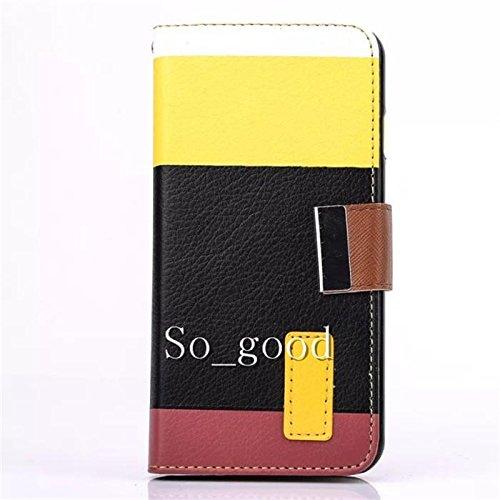 Cloudseller iPhone5e 5S Premium PU Custodia a portafoglio con slot carte di credito® Hot Pink nero - nero