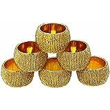 Napkin Ring gold Set of 6 Beaded Napkin Ring Holders, Birthday, Christmas, Any Occasion Gift