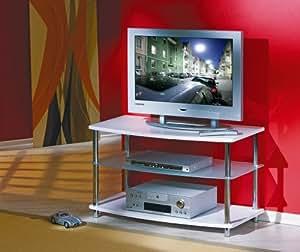 Meuble TV en verre sur roulettes Table intelligent Media Centre chariot pour les fans de haute technologie